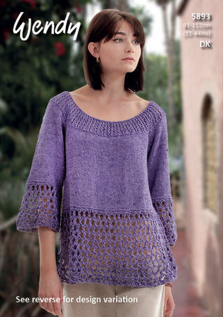 Wendy Knitting Pattern 5893 - Ladies top or tunic with elbow-length sleeve in 8-ply / DK