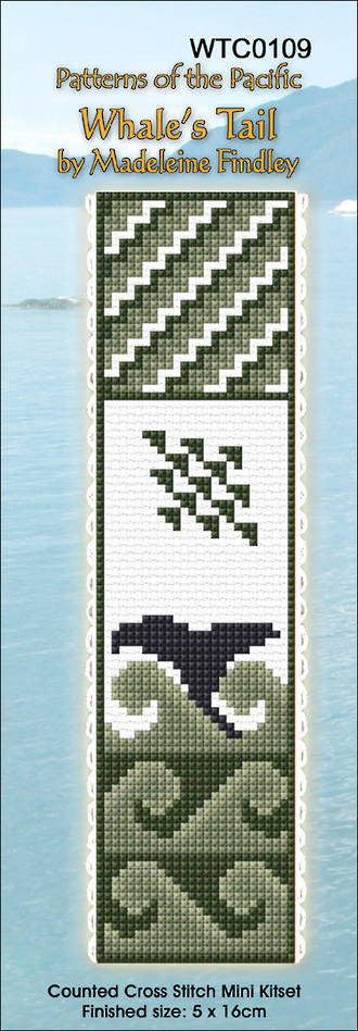 Cross-stitch bookmark - Whale's Tail