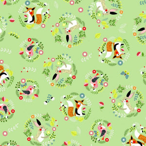 Willow - Foxes, Bunny and Birds on Green background
