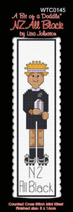 Cross-stitch bookmark - All Blacks