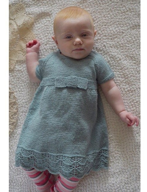 Lisa F Design Knitting Pattern - Eleanor Lace Edge Dress with Knitted Bow