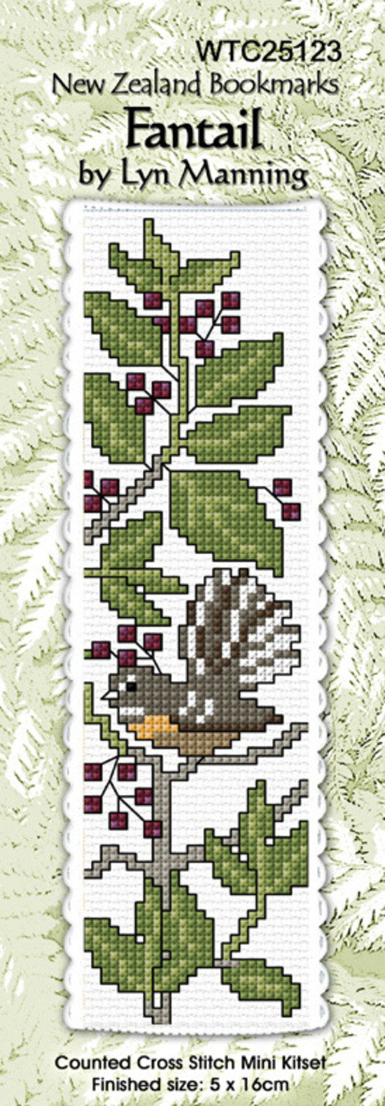 Cross-stitch bookmark - Fantail