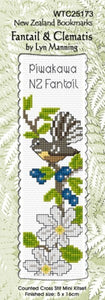 Cross-stitch bookmark - Fantail & Clematis