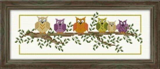 Cross-stitch kit - A Hoot of Owls