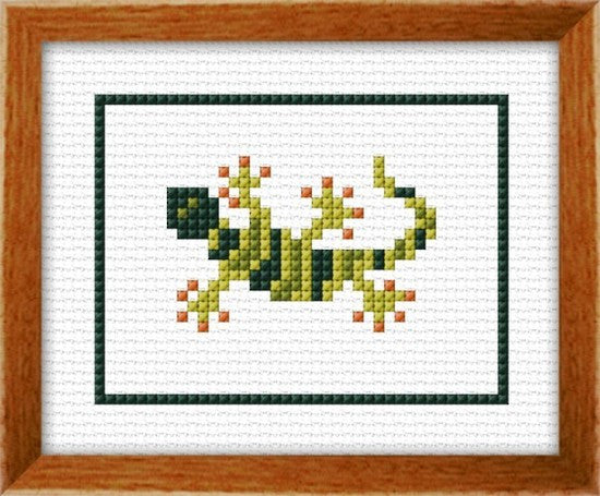 Cross-stitch kit for children - Gecko