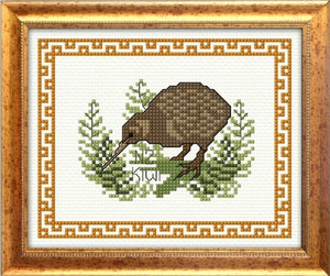 Cross-stitch kit - Kiwi in bush with border