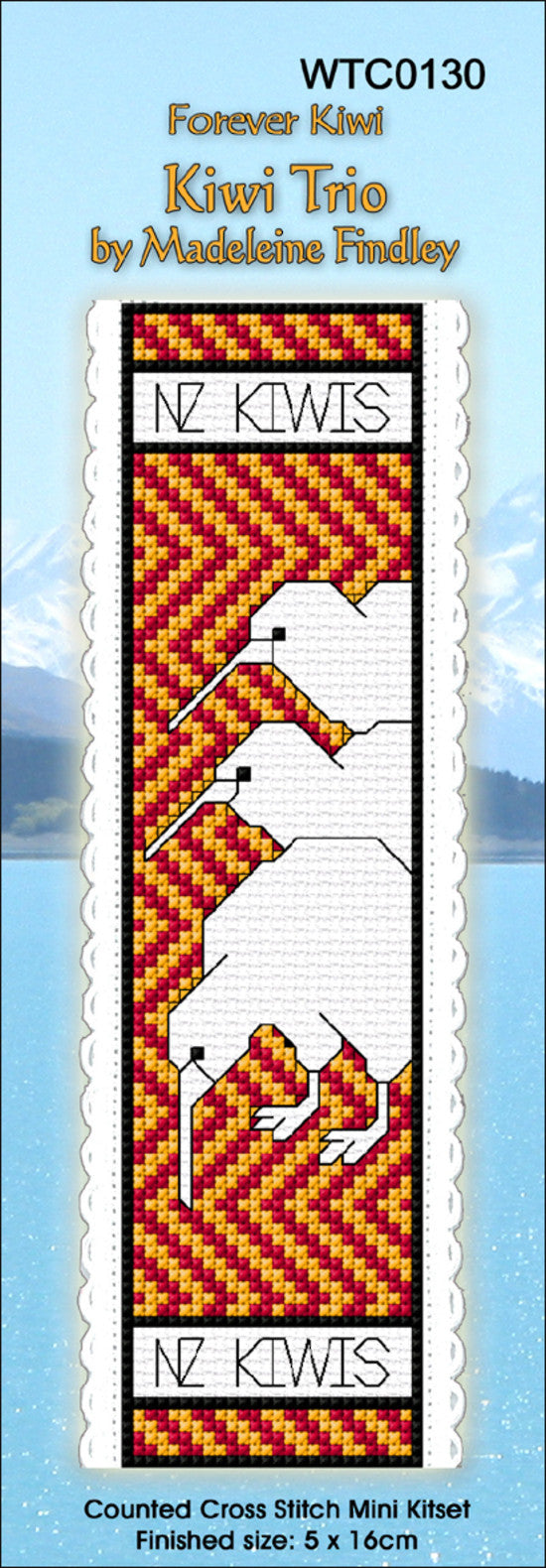 Cross-stitch bookmark - Kiwi Trio