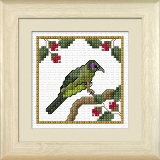 Cross-stitch kit - Korimako, the Bellbird