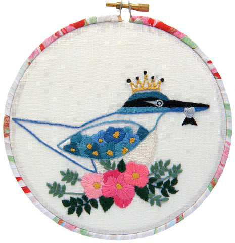 Embroidery Kit - New Zealand Kingfisher / Kotare