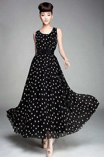 Chiffon - Black and white dots (125 cm x 145 cm)