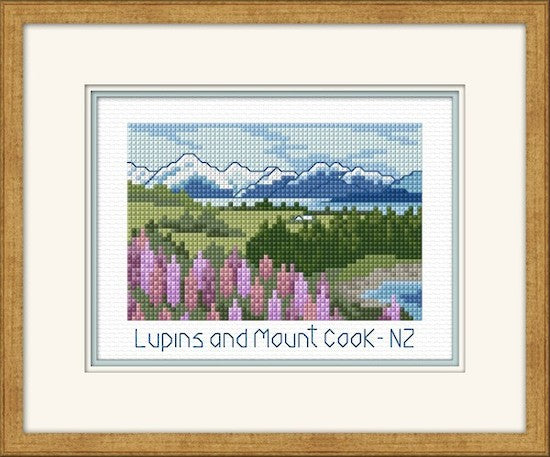 Cross-stitch kit - Lupins and Mt Cook
