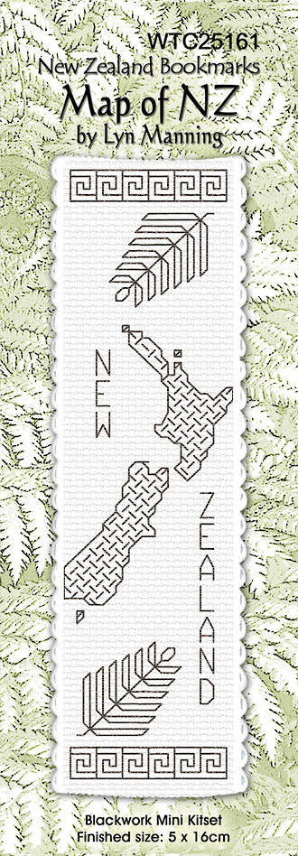 Cross-stitch bookmark - Blackwork Map of NZ