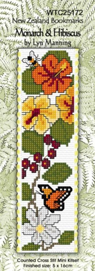 Cross-stitch bookmark - Monarch & Hibiscus