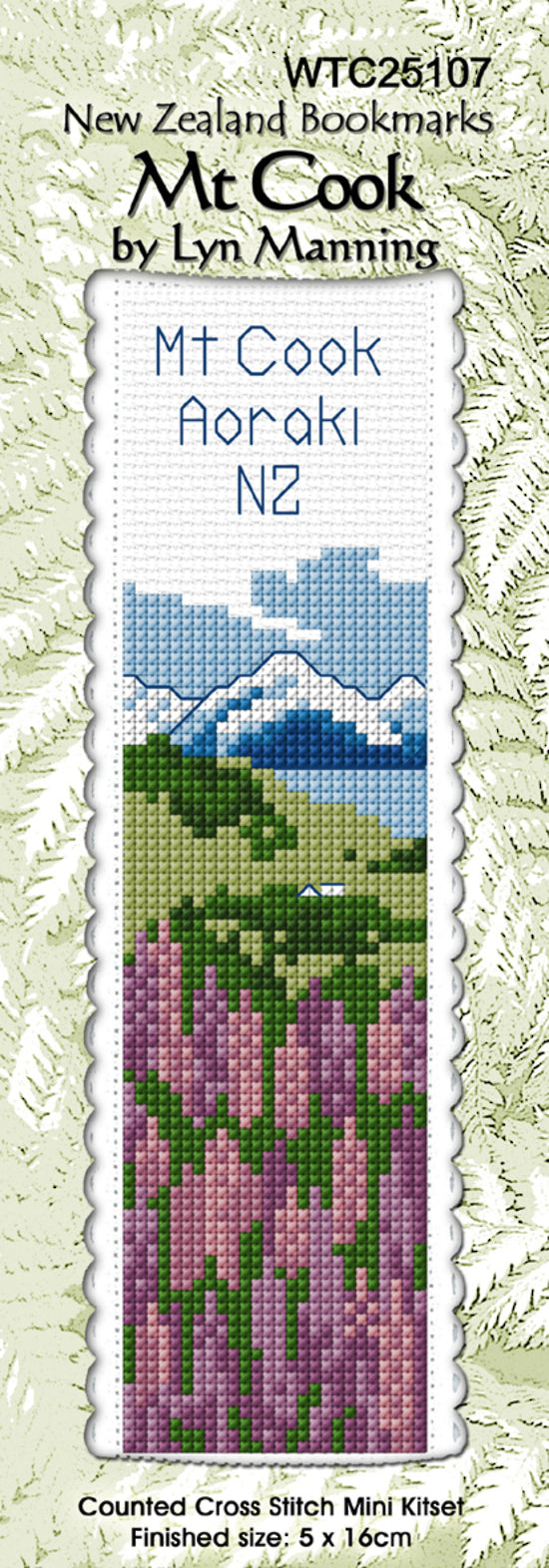 Cross-stitch bookmark - Mt Cook Aoraki