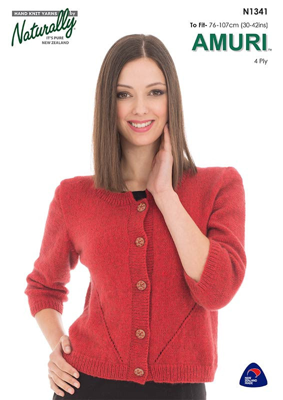 Naturally Knitting Pattern N1341 - Ladies Cardigan with elbow-length sleeves in 4-ply / Fingering