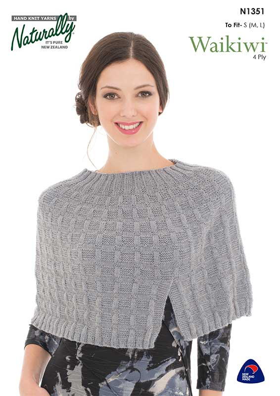 Naturally Knitting Pattern N1351 - Ladies Cropped Poncho in in 4-ply / Fingering