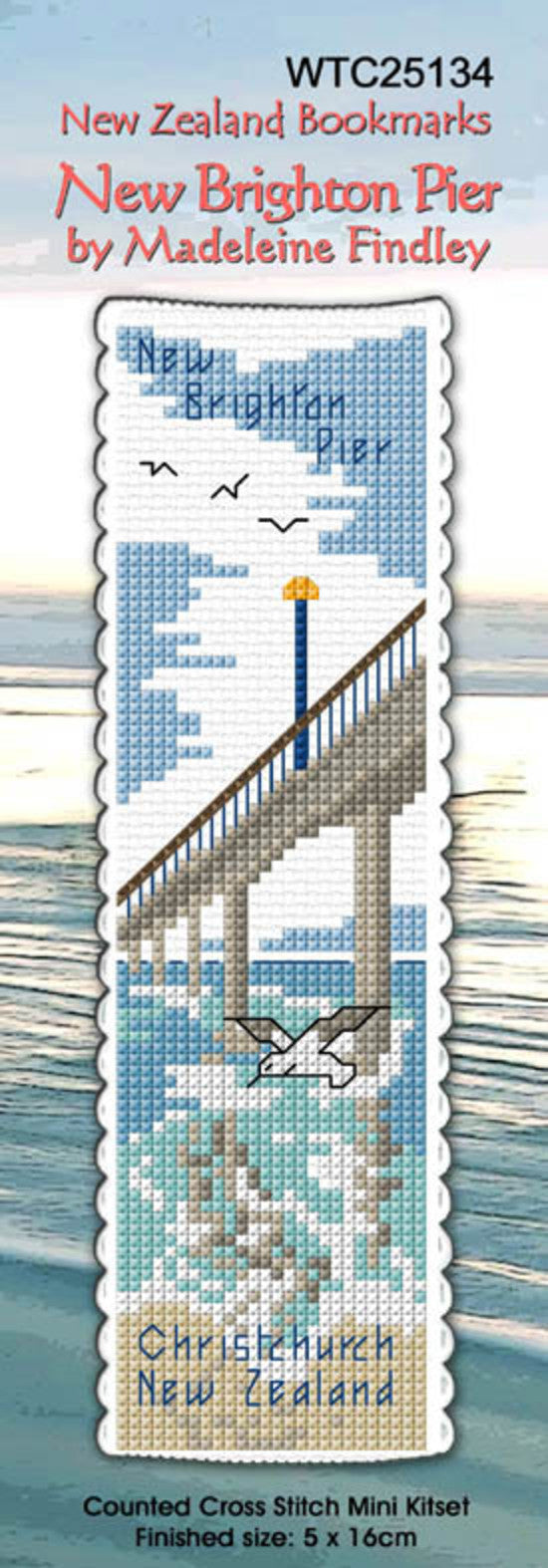 Cross-stitch bookmark - New Brighton Pier