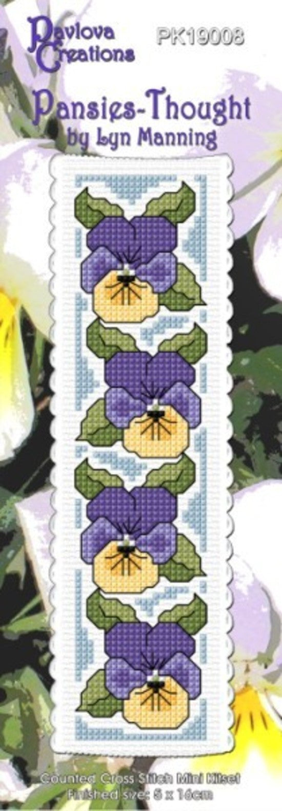 Cross-stitch bookmark - Pansies - Thought