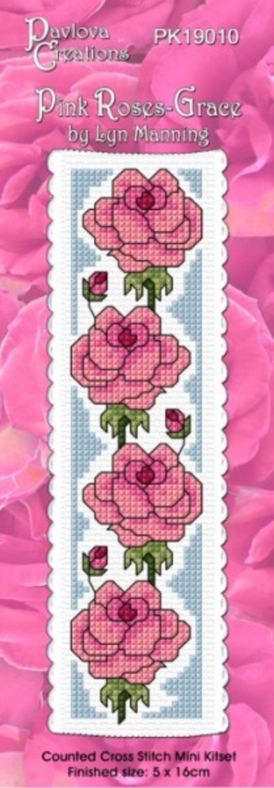 Cross-stitch bookmark - Pink Roses - Grace