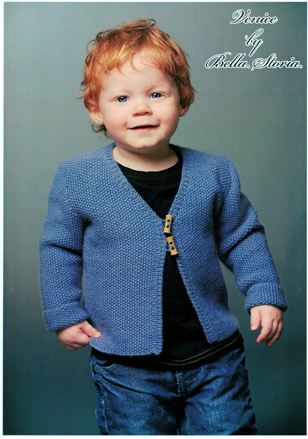 Bella Storia PST120 - Childs V-neck garter stitch cardigan in 4-ply
