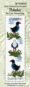 Cross-stitch bookmark - Pukeko