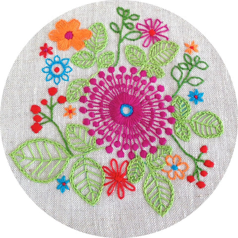 Embroidery Kit - Purple Pinwheel