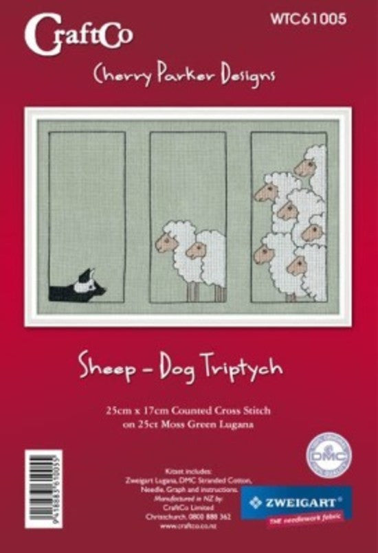 Cross-stitch kit - Sheep-Dog Triptych