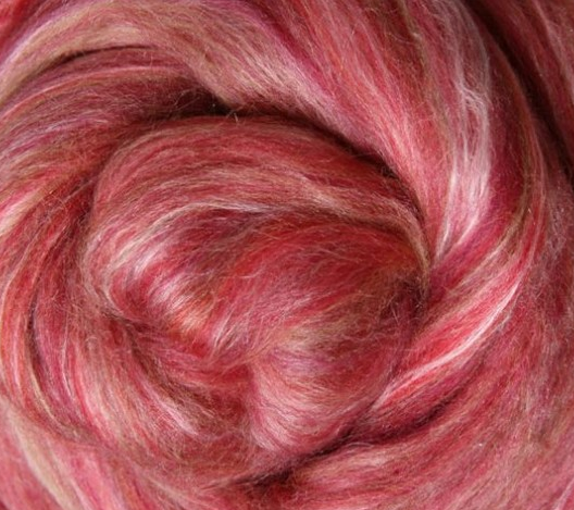 Silk Merino Sliver Fibre - Pomegranate colour