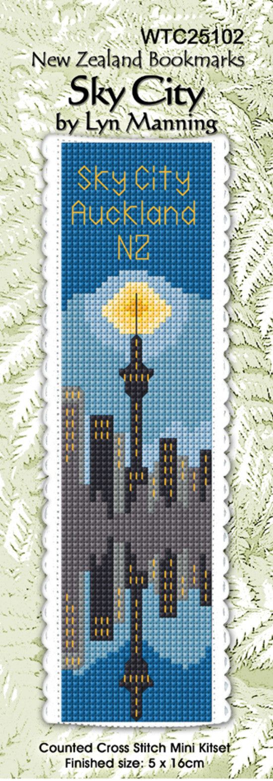 Cross-stitch bookmark - Auckland's Sky City at night
