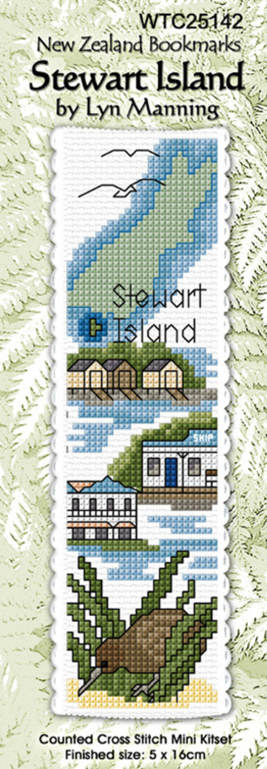 Cross-stitch bookmark - Stewart Island