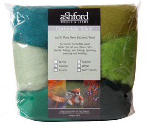 Corriedale Sliver Fibre - Seven Summer Colours