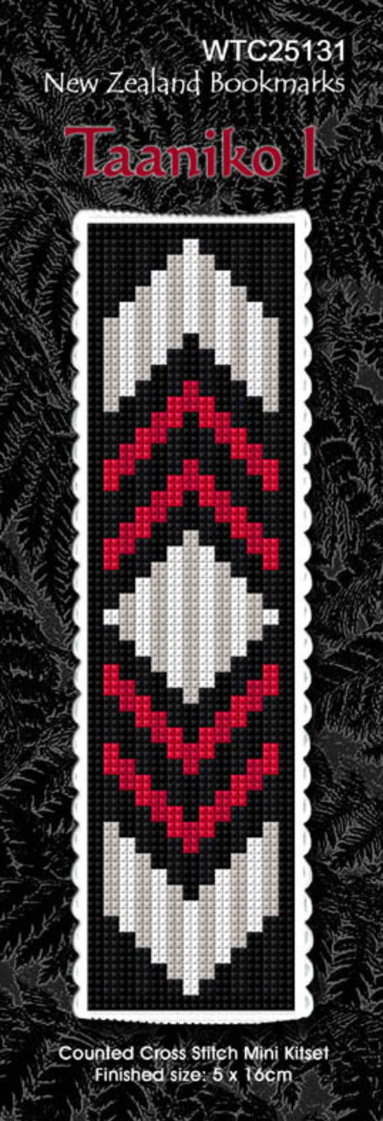 Cross-stitch bookmark - Taaniko 1