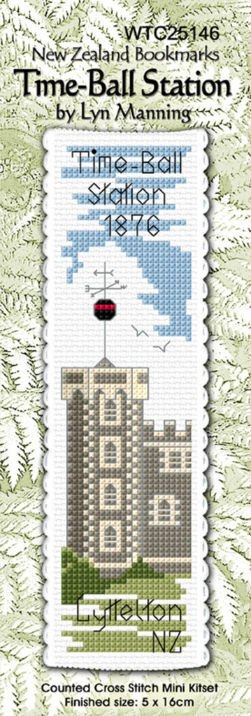 Cross-stitch bookmark - Lyttelton Time Ball Station