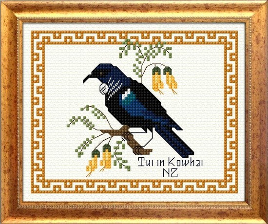 Cross-stitch kit - Tui in Kowhai with border