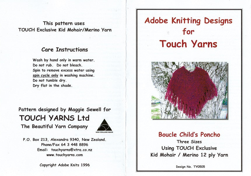 Adobe Knitting Pattern - Childs Boucle Poncho