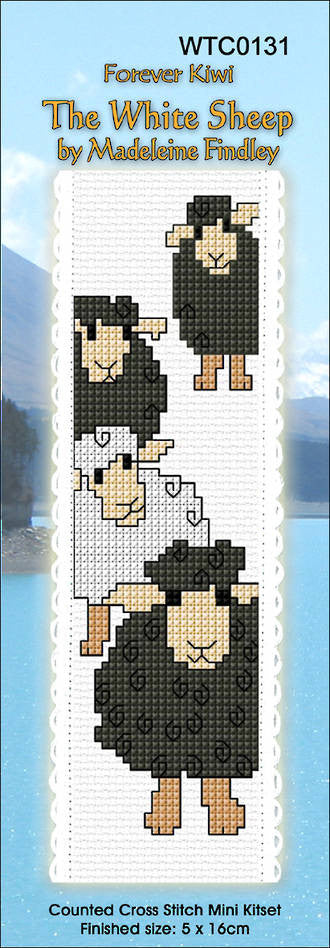 Cross-stitch bookmark - The White Sheep