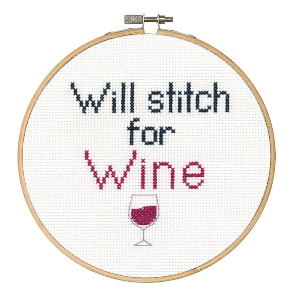 Dimensions Quick Counted Cross Stitch Kit with Bamboo Hoop - Stitch for Wine