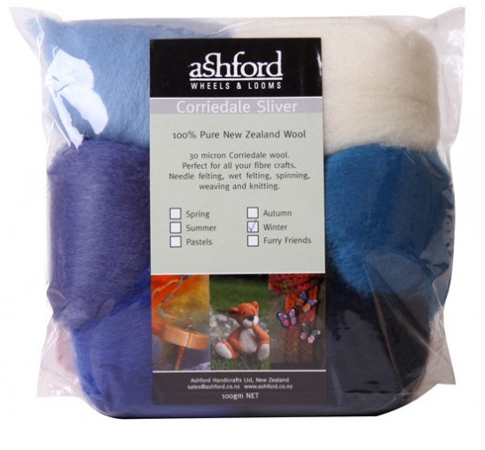 Corriedale Sliver Fibre - Seven Winter Colours