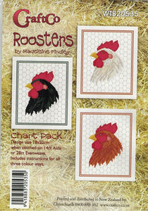 Cross-stitch chart - Set of 3 Rooster charts