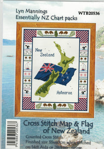 Cross-stitch chart - New Zealand Map and Flag