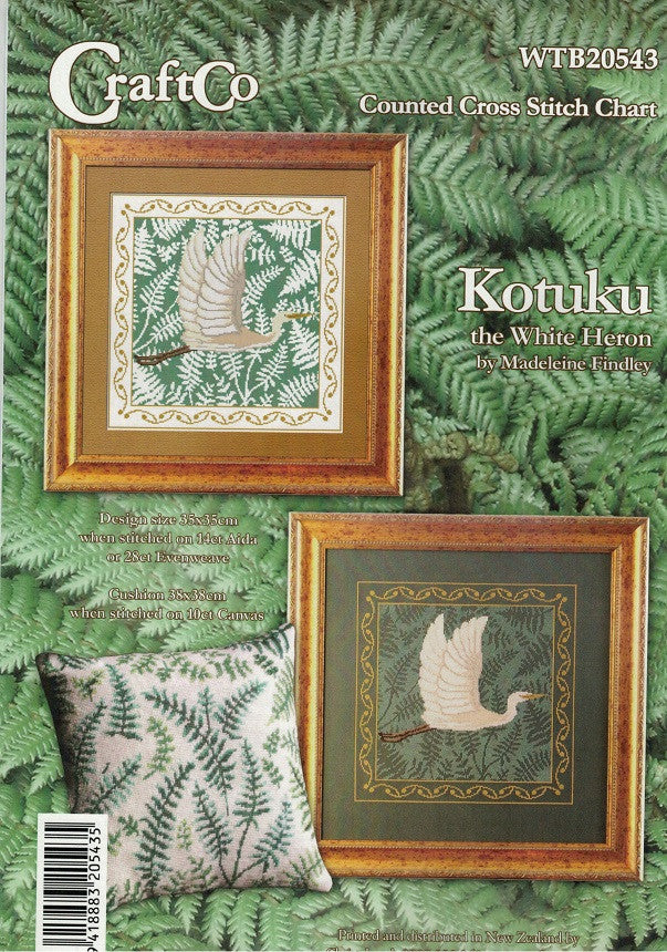 Cross-Stitch Pattern - Set of 2 Kotuku the White Heron charts