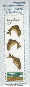 Cross-stitch bookmark - Brown Trout