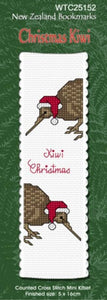 Cross-stitch bookmark - Christmas Kiwi