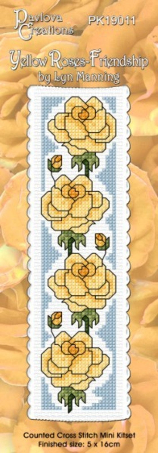 Cross-stitch bookmark - Yellow Roses - Friendship