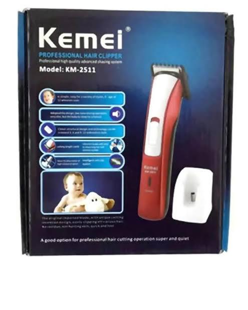 Kemei Rechargeable Trimmer Red (KM-2511)