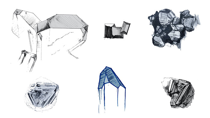 Crystal and mineral sketches