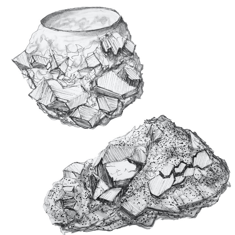 Sketch of crystal formation silver bowl