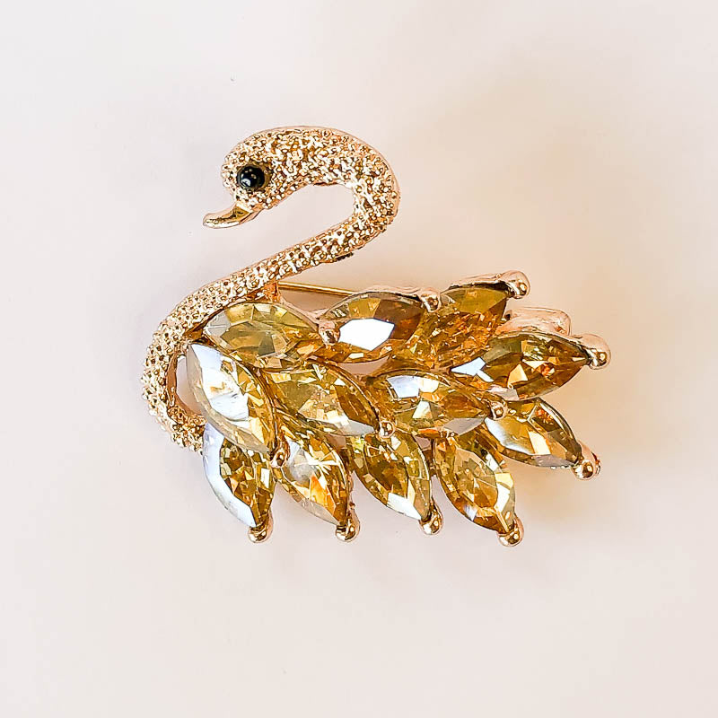 Gold Swan with Topaz Crystals (B6)