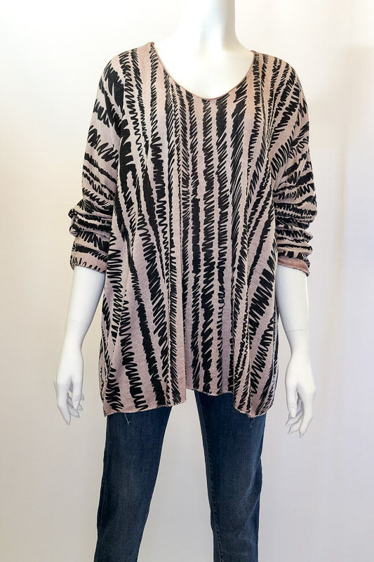 Pink Long-Sleeve Top with Black Squiggle Print (F5)