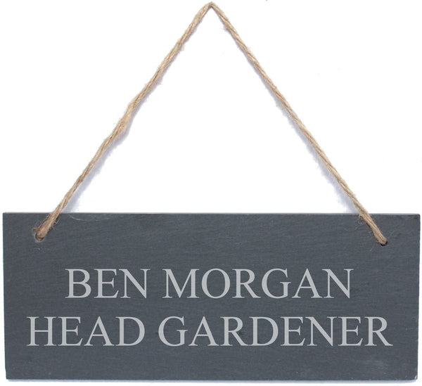 Personalised Engraved Hanging Rectangle Slate Plaque Sign - 25x10cm